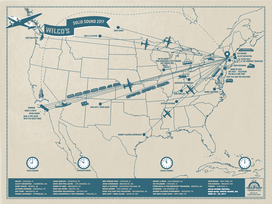 Image of Wilco's Solid Sound Travel Map Poster, 2017