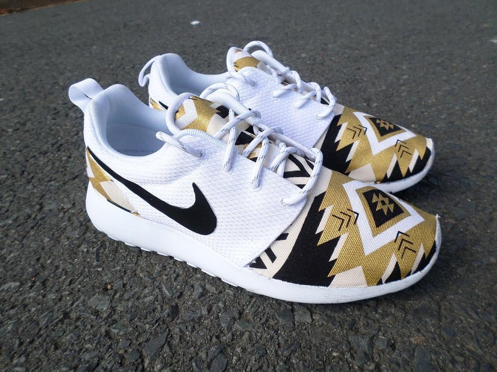 "Image of Custom Nike Roshe One""Black Gold Aztec"""