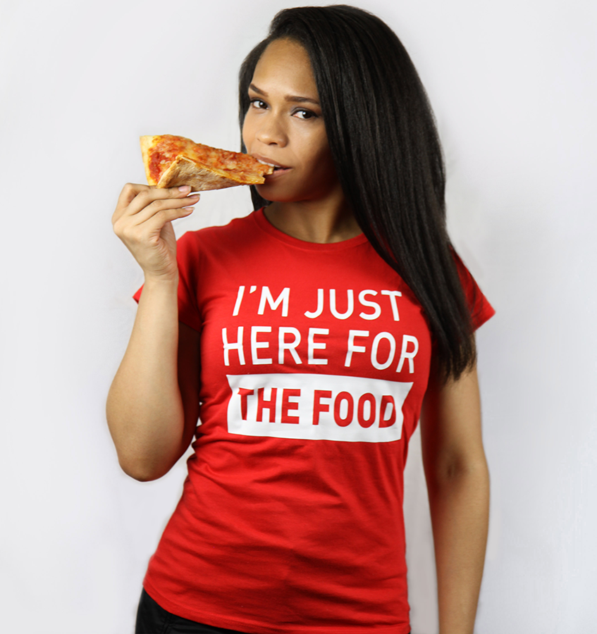 Image of I'm just here for the food (Women's) Red T-shirt