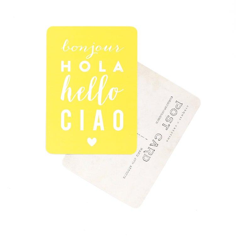 Image of Carte Postale BONJOUR HOLA HELLO CIAO