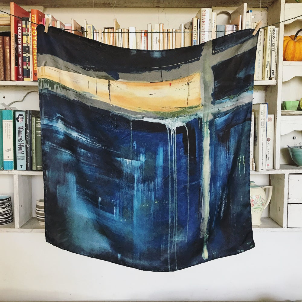 Image of  SHELTER SCARF FOR THE WORLDWIDE TRIBE  - 100% SILK SATIN SCARF WITH HAND ROLLED EDGES