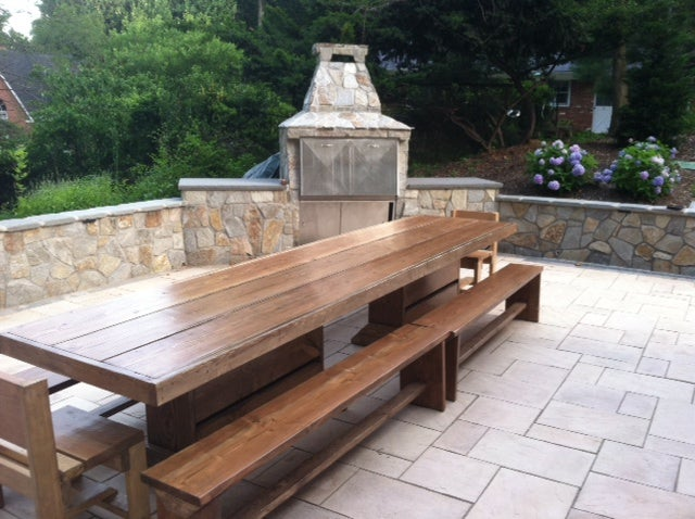 Image of SALE: 9' PATIO SET / OUTDOOR DINING TABLE WITH BENCHES (Reduced from $1190)