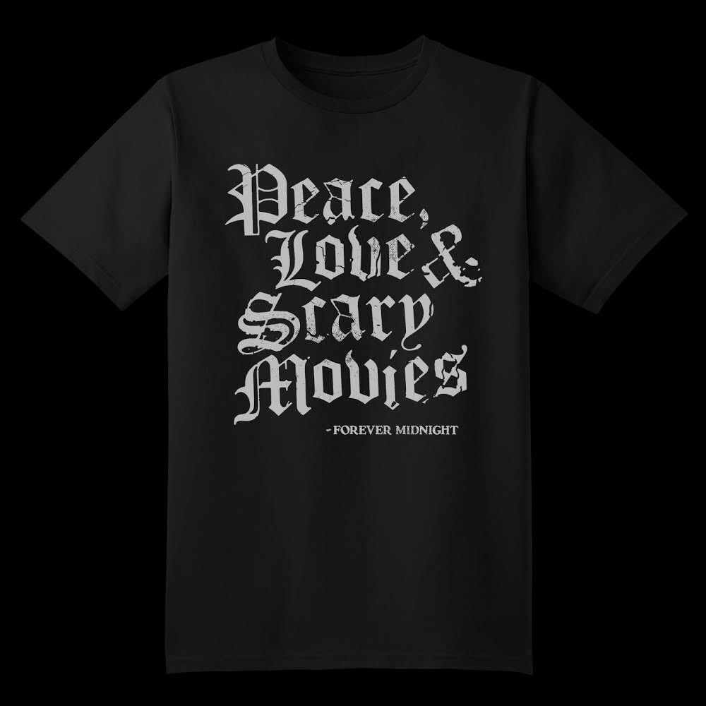 "Image of ""Peace, Love and Scary Movies"" TeeShirt"