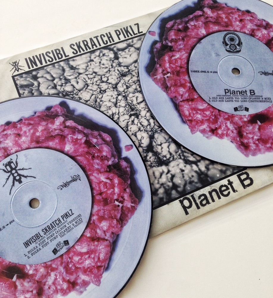 Image of INVISIBL SKRATCH PIKLZ X PLANET B SPLIT 7""