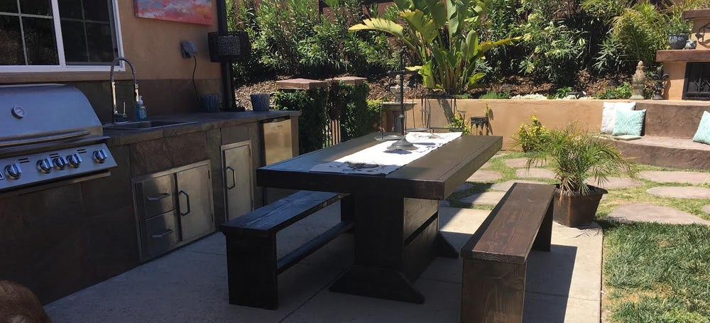 Image of 7' PATIO SET / OUTDOOR DINING TABLE WITH BENCHES