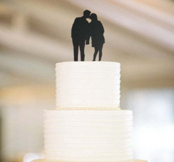 Image of Hand Cut Silhouette Wedding Cake Topper