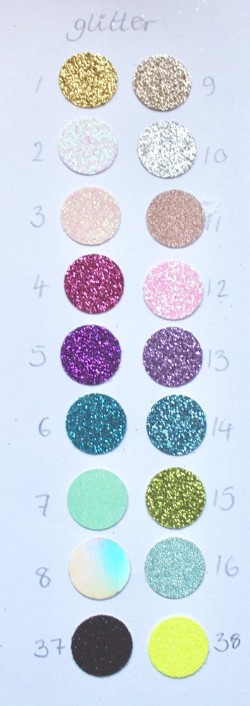 Image of Card colour chart - glitter, shimmer and plain