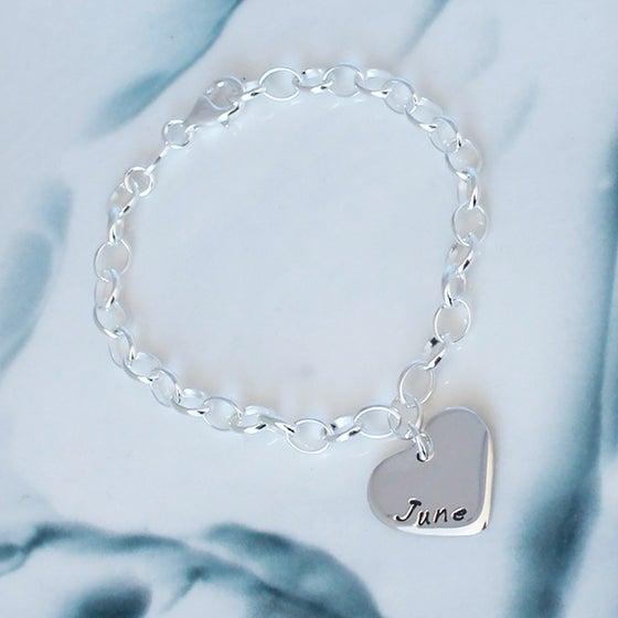 Image of Personalised Love heart Sterling Silver Bracelet