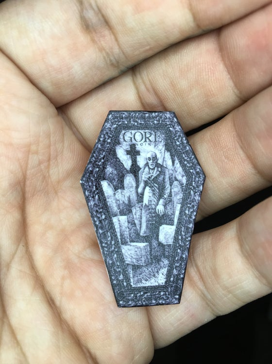 Image of Nosferatu coffin pinback