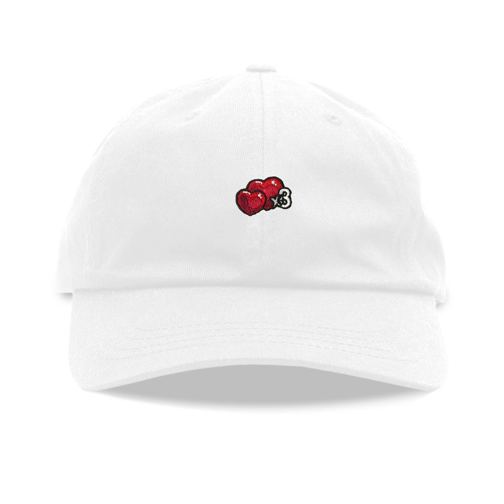 "Image of ""Hearts"" Dad Hat (White)"
