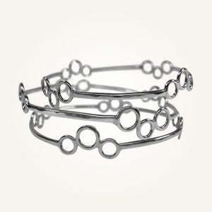 Image of Polka Dot Stacking Bangles, Sterling Silver