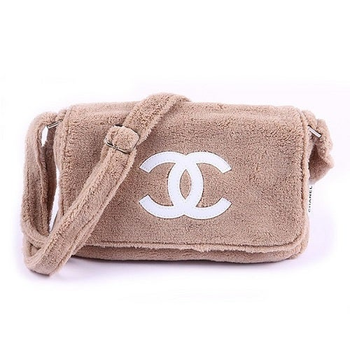 Image of SOLD Chanel Beaute Bag - Chanel Precision VIP Beauty Counter Gift Beige Plush Shoulder Bag