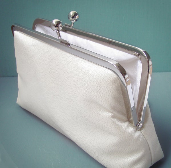 Ivory clutch purse, silk bag with chain handle, wedding bridal clutch - Red Ruby Rose