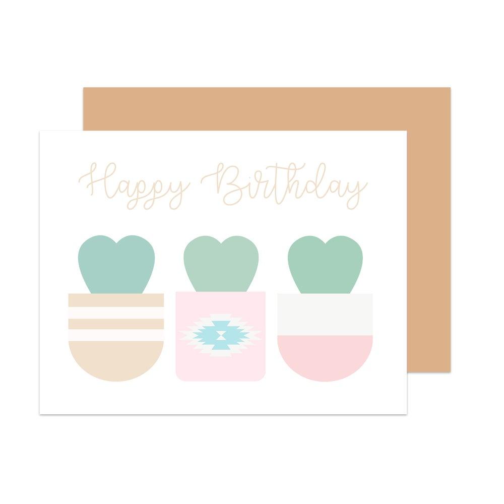 Image of Sweetheart Cactus Birthday Card