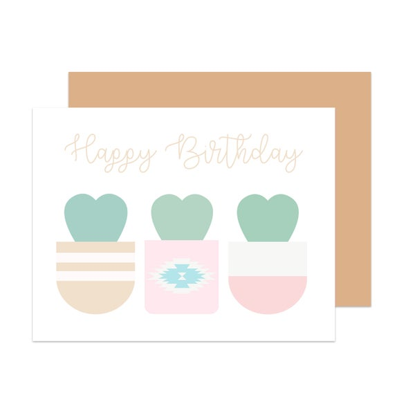 Image of Sweetheart Cactus Birthday Card
