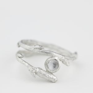 Image of Arctic twig ring with sparkling white topaz