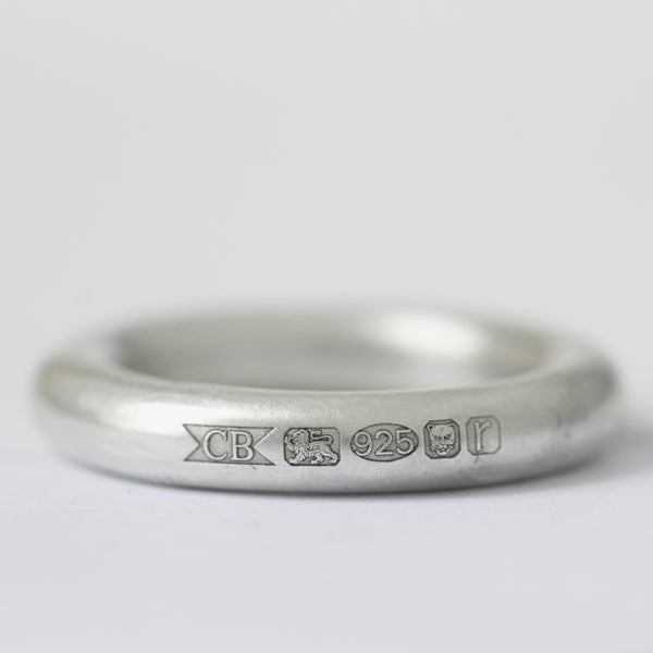 Image of silver hallmark ring / mens silver wedding ring / chunky wedding ring