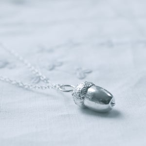 Image of Acorn necklace, silver acorn necklace, woodland necklace