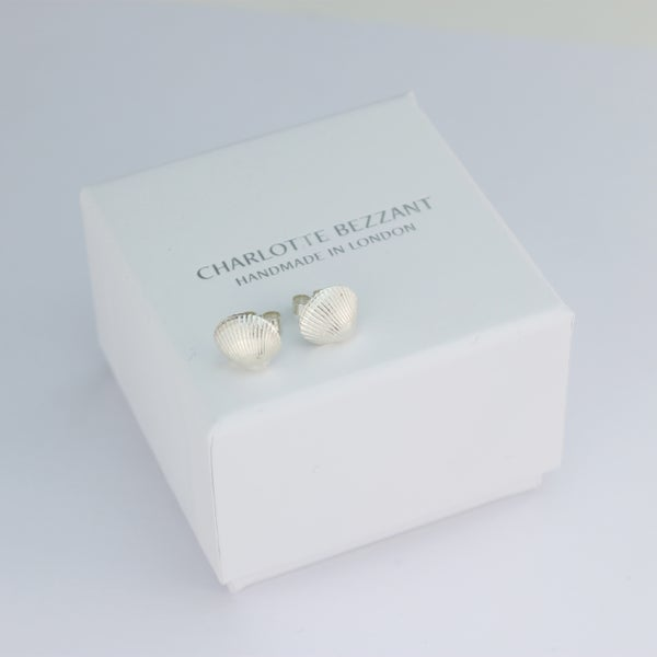 Image of silver shell earrings, cockle shell stud earrings