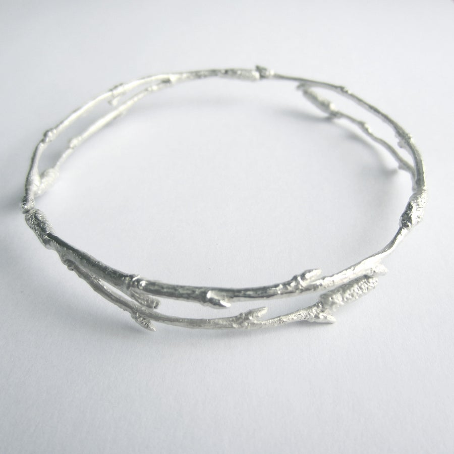 Image of Silver twig bangle, arctic twig bangle