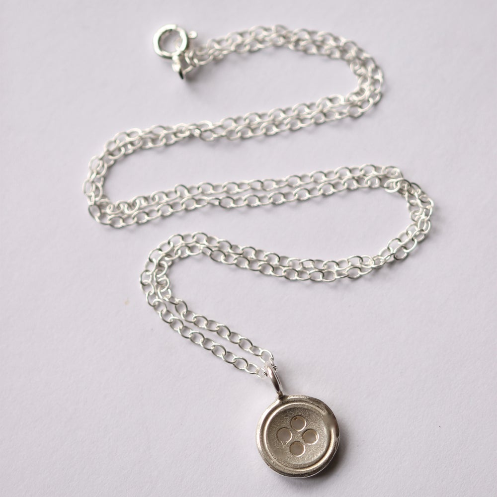 Image of Large silver button necklace, haberdashery necklace