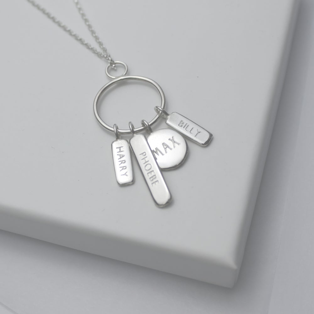 Image of Family keepsake names necklace, (4 TAGS)