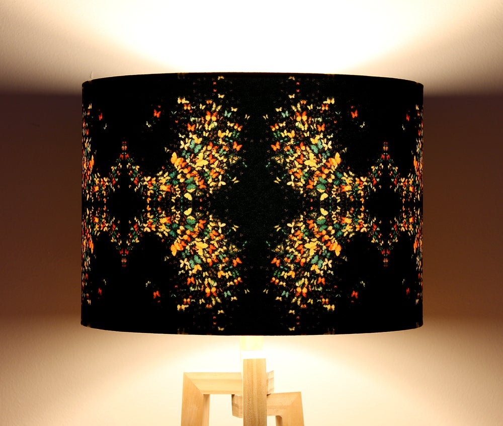 Image of 'Butterflies on Black' Drum Lampshade by Lily Greenwood
