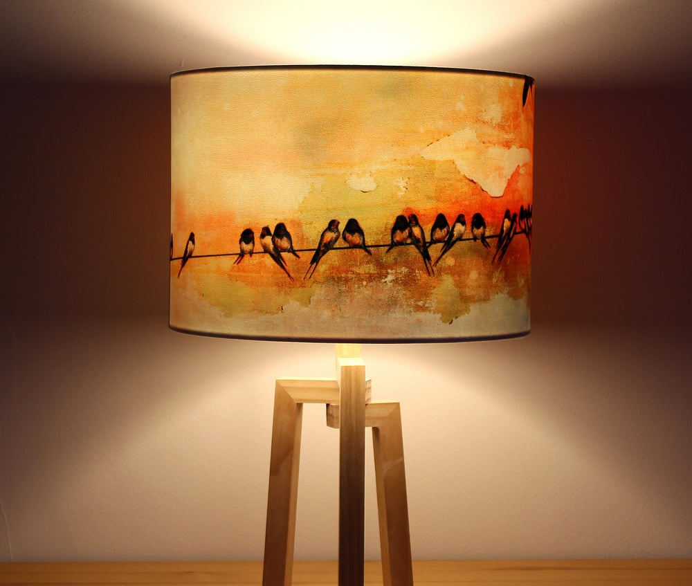 Image of 'Swallows at Sunrise' Drum Lampshade by Lily Greenwood