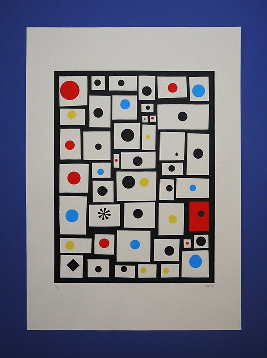 Image of 'Spots and Dots' - A3 - 4 colour Screenprint on Grey Sugar paper