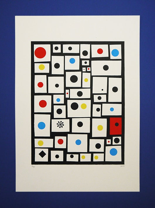 Image of 'Spots and Dots' - A3 - 4 colour Screenprint on White cartridge