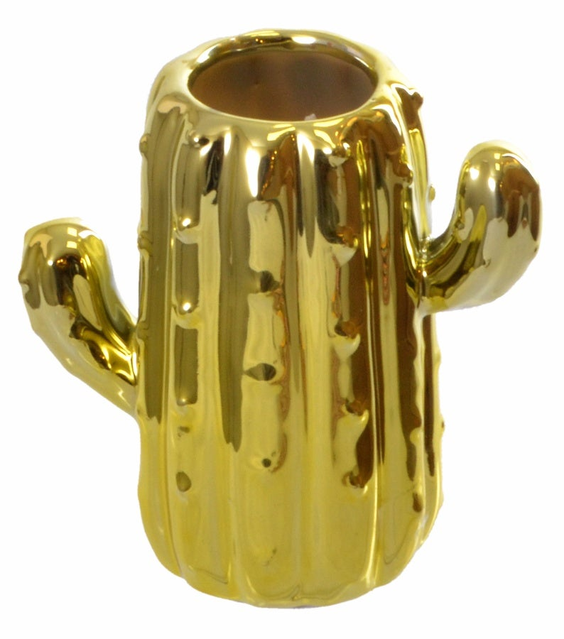 Image of Gold Cactus Ceramic Candle Pot