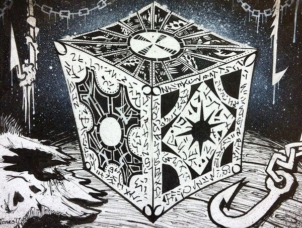 Image of 'Hellraiser Cube' original painting