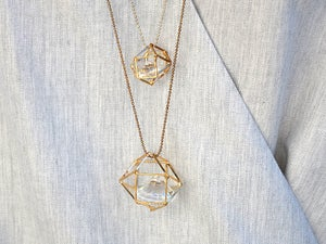 Image of Hexagon cage diamond pendant