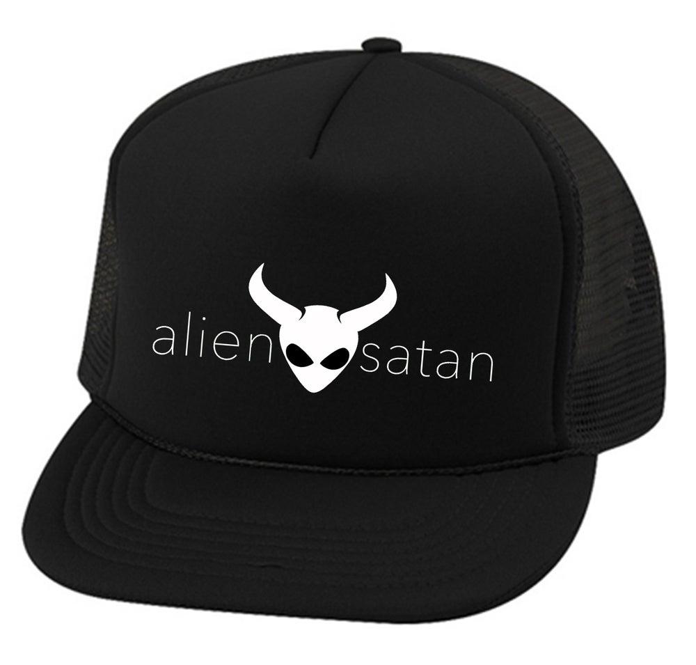 "Image of OFFICIAL - ALIEN SATAN - ""TEXT"" LOGO - TRUCKER HAT - BLACK"