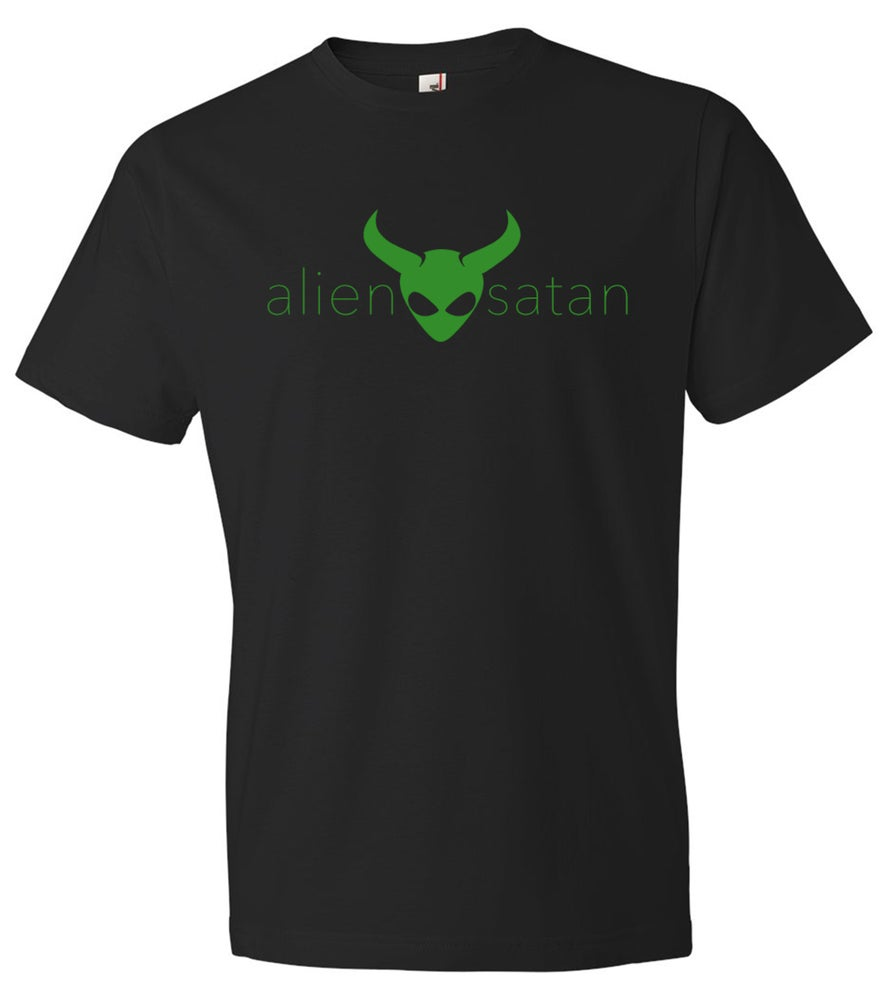 Image of OFFICIAL - ALIEN SATAN - UNISEX BLACK SHIRT - GREEN LOGO