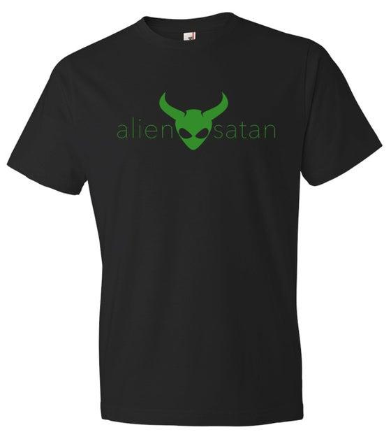 Image of OFFICIAL - ALIEN SATAN - UNISEX BLACK SHIRT - GREEN LOGO