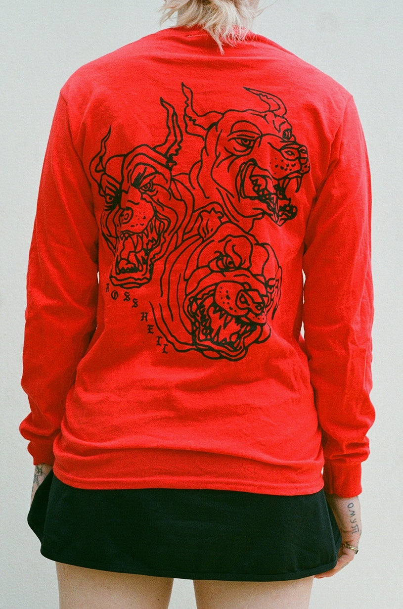 Image of red DOGS long sleeve