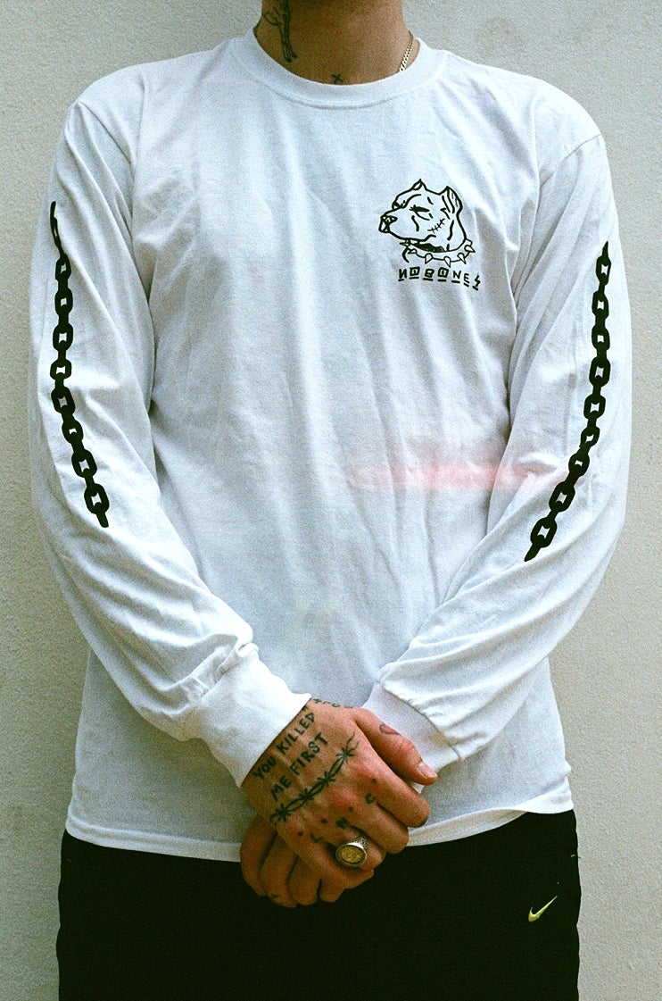 Image of white DOGS long sleeve