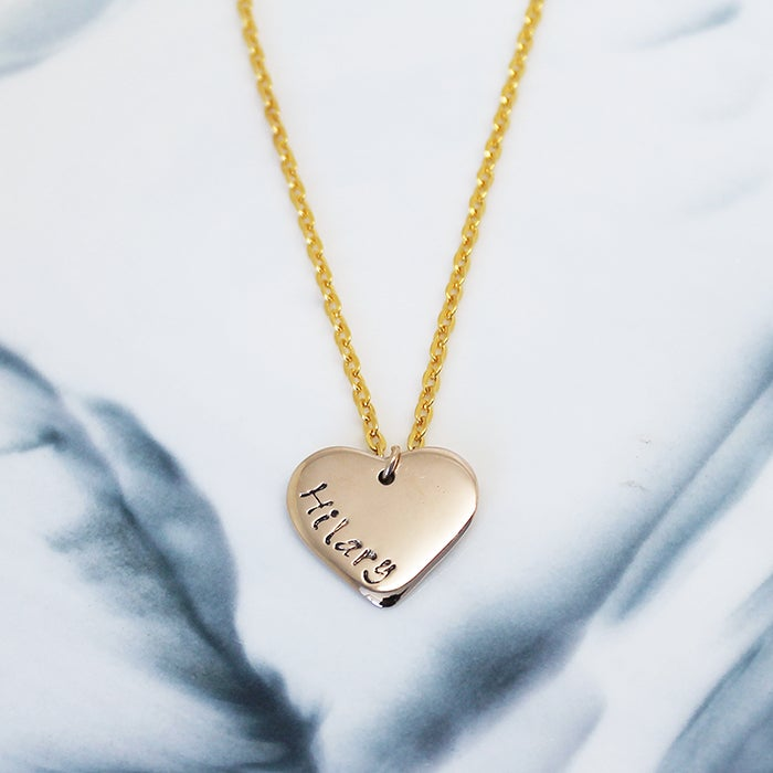 Image of Personalised Love Heart 9ct Necklace