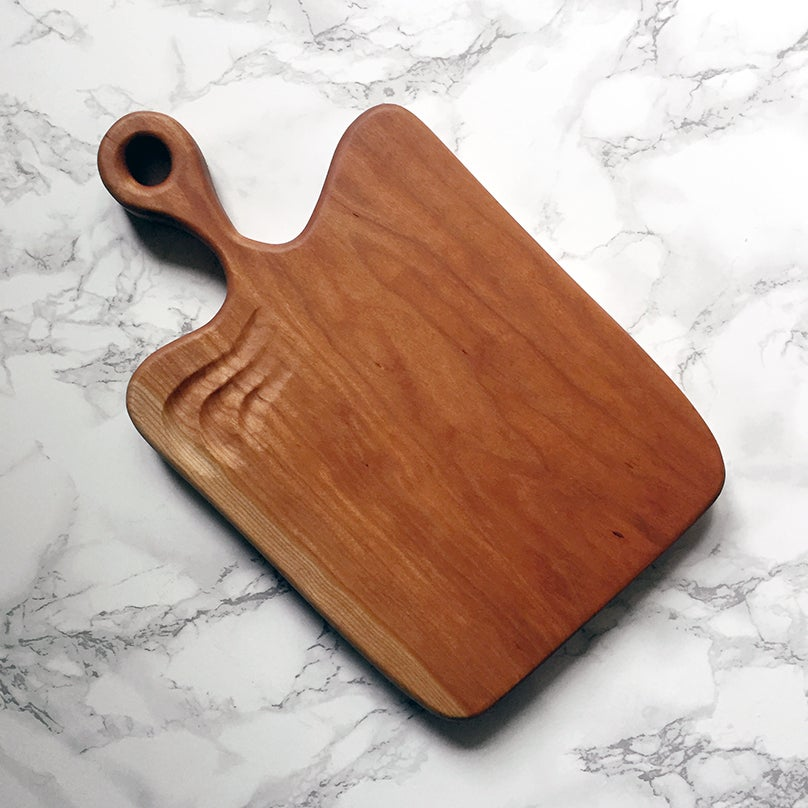 Image of Carved cherry serving board #1