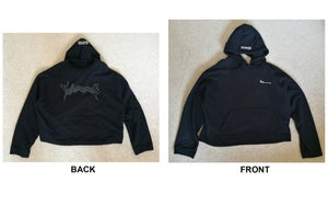 Image of Black Cropped Metal Hoodie  [Pre-Order]