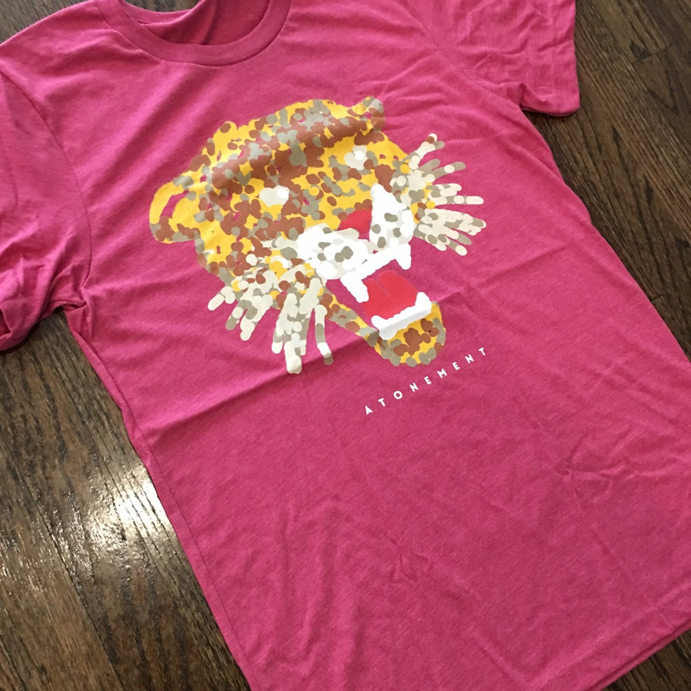 """Image of The """"Spot Ink Tiger"""" Heather Raspberry Tee"""