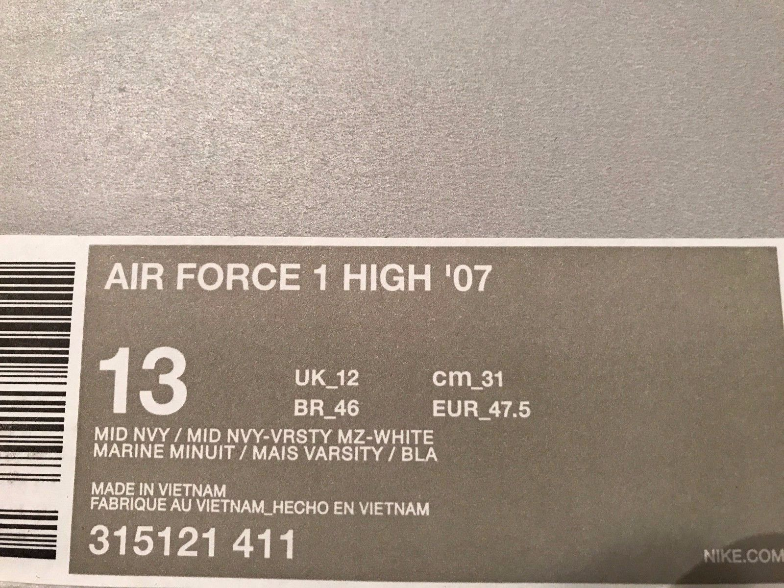 Image of New - Nike Air Force 1 High PRM QS Sneakers New, Navy Blue Michigan