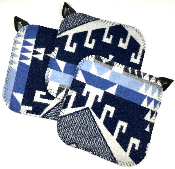 Image of Western Wool Potholder - Three Blues