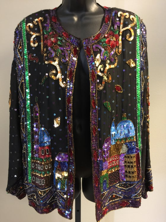 Image of VTG SILK SEQUINED SKYLINE BEADED BABE JACKET L/XL