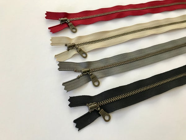 "Image of YKK Antique Brass Zipper with Donut Pull 10""/25cm"