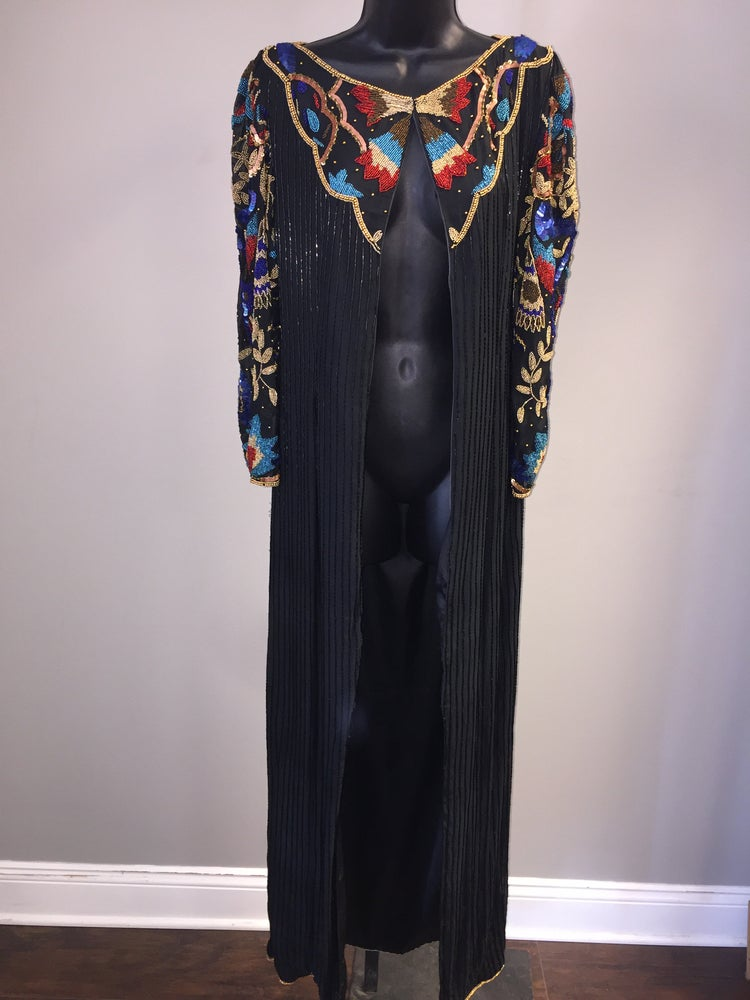 Image of VTG SILK SEQUINED BEADED GLAMBABE MAXI DUSTER S/M