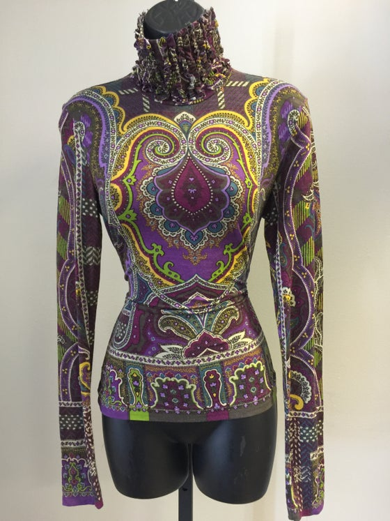 Image of ETRO PURPLE PAISLEY SPANDEX TURTLENECK M/L