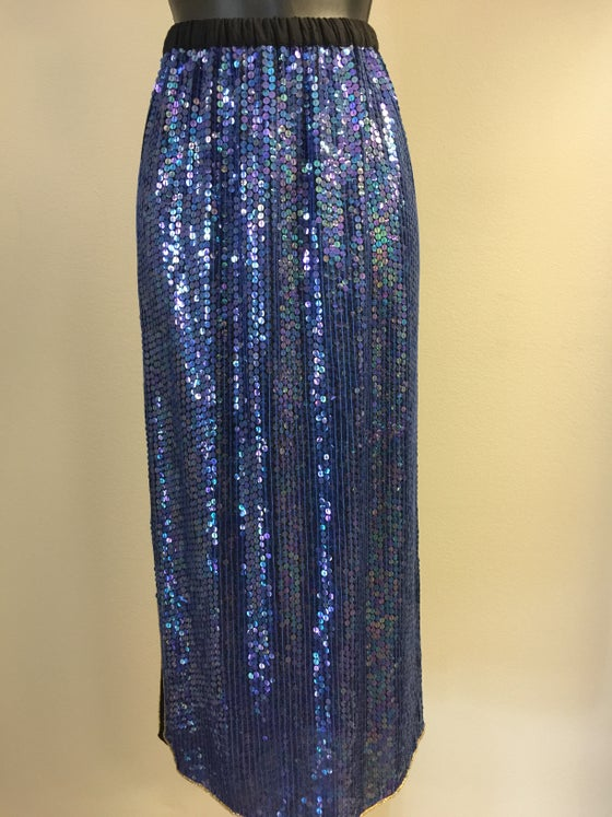 Image of VTG SILK SEQUINED FROSTED BLUE PENCIL SKIRT S/M