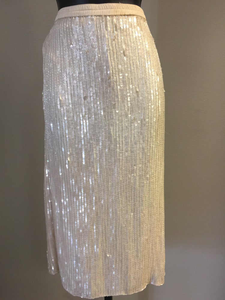 Image of VTG FROSTED CREAM SILK BEADED SEQUINED BAGGY PENCIL SKIRT M/L